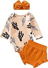 Newborn Baby Girl Clothes Cactus Romper + Pumpkin Color Short Pants with Headband 3Pcs Winter Outfit Set 0-18Months