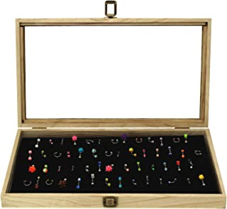 Mooca Wooden Body Jewelry Tray with 54 Metal Clips, Belly Rings Case, Body Jewelry Stand, Body Jewelry Display with Belly Button Rings Pad with Easel, Oak Color