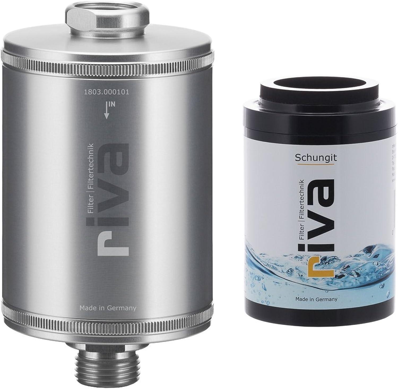 Riva Filter     Duschfilter-Set SCHUNGIT     WASSERFILTER – reinigt, verotelt und energetisiert Duschwasser     Regeneration von Haut, Haar und Stoffwechsel     Inkl. Energiesteine     Silber