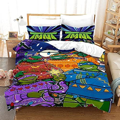 HHSMGS Teenage Mutant Ninja Turtles Juego de funda de edredón de microfibra, ropa de cama infantil, cómodo, juego de funda de edredón, regalo (Tortugas Ninja, 3,220 x 240 cm + 80 x 80 cm x 2)
