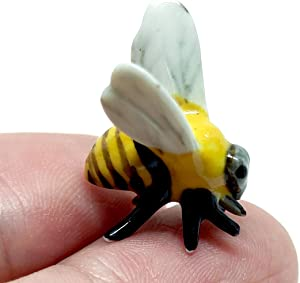 SSJSHOP Bee Micro Tiny Dollhouse Figurines Hand Painted Ceramic Animals Collectible Gift Home Garden Decor