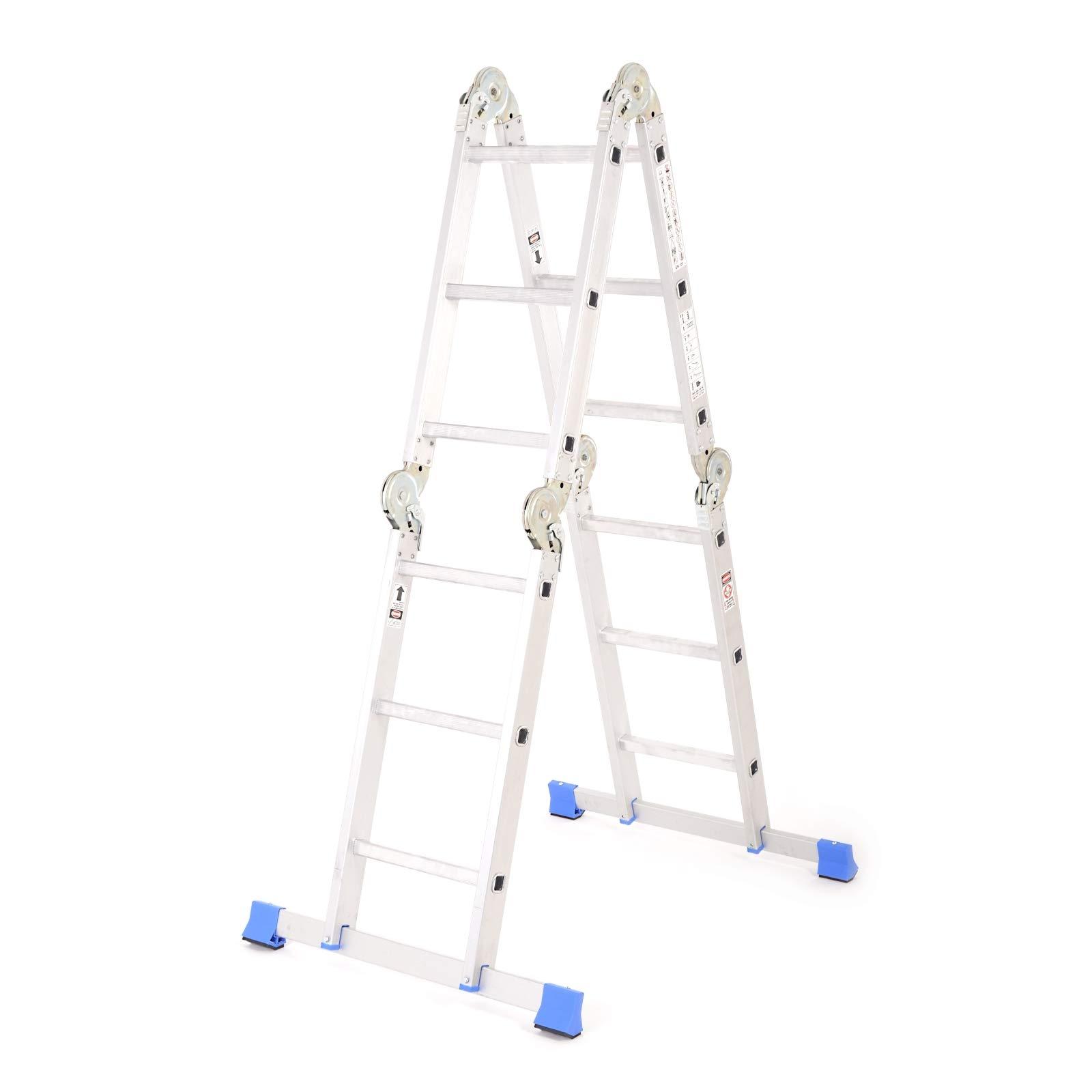 Escalera con articulaciones – Alta aluminio escalera multiusos Escalera escalera multifunción 4 x 3 peldaños con plataforma plegable tüv 150 kg de carga: Amazon.es: Bricolaje y herramientas