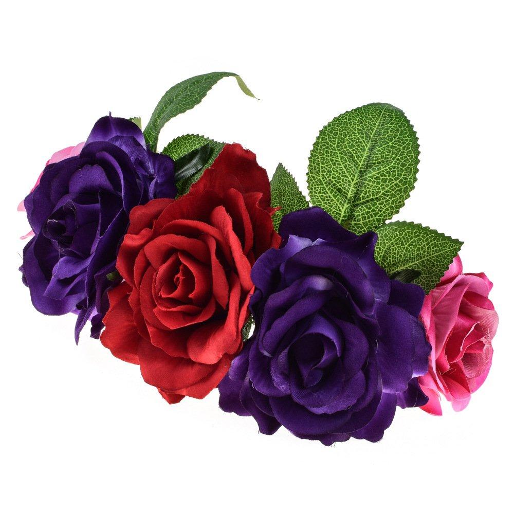 cosecha Civil esquema  Amazon.com: Frida Kahlo - Diadema de flores mexicanas para fiestas: Beauty