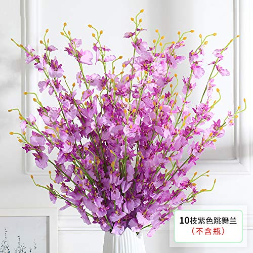 OUYANG Ramo de simulación de orquídea Bailando con Ranura de plástico para Flores de Saffron decoración Interior de Flores secas para Sala de Estar, Adornos de Flores 6 orquídeas Bailarinas moradas