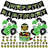 52 Pcs Baby Alien Birthday Party Supplies, Space Theme Birthday Party Decorations for Kids Adults with Happy Birthday Banner, Cake Topper, Cupcake Toppers, Balloons for Cute Baby Shower Decor