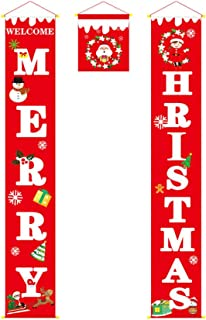 Amosfun Christmas Porch Sign Merry Christmas Decorations Yard Outdoor Indoor Hanging Decor ChristmasParty Favors Hanging Flag Banners