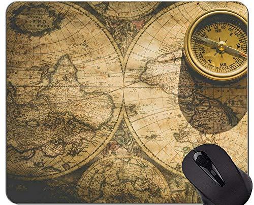 Karten-kundenspezifische ursprüngliche Leopard-Reihen-Mausunterlage, alte Seekarten-Karten-historische Gebiets-Kompass-Mausunterlage mit genähtem Rand