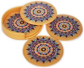 Juego de 4 posavasos de piel Oxcart Wheel (amarillo) con soporte protege los muebles de derrames de agua, vino, café