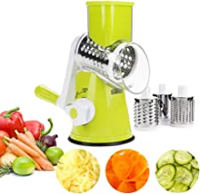 Mandoline Slicer - Rotary Cheese Grater for Potato, Tomato, Nuts - Vegetable Chopper, Salad Shooter with 3 Round Stainless Steel Blades (Color : Green)