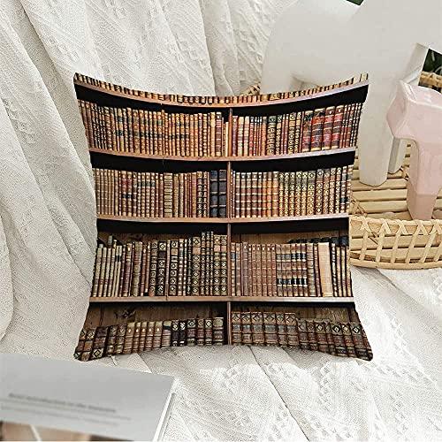 """Funda de Almohada Decorativa Cuadrada Wisdom Brown Old in Science Tesauro Estante académico Libros Antiguos Biblioteca Vienna Read Bookstore Funda de Almohada para sofá Decoración de sofá, 17""""x 17"""""""
