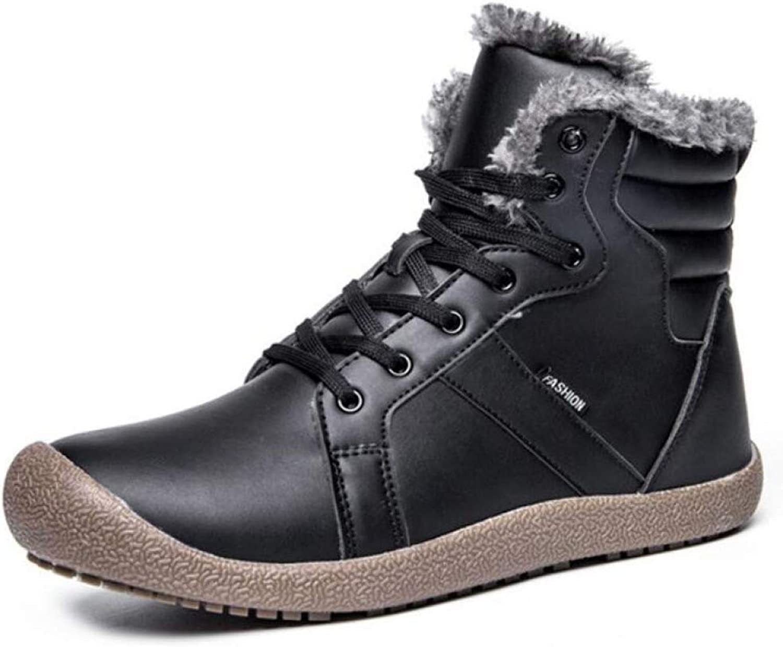 LIJUN Booties Winter Casual Leather shoes Keep Warm Hiking Work Men's Snow Boots