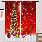 """ANHOPE Red Christmas Curtains, Santa Claus Sleigh Rustic Christmas Curtains Waterproof Fabric Feast Theme Rod Pocket Curtains for Kids Girls Bedroom Living Room 42"""" W X 84"""" L 2 Panels"""