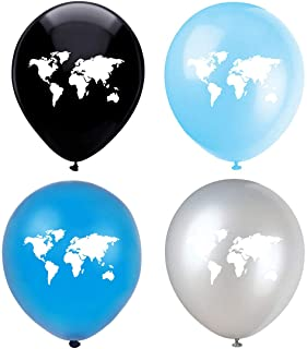 Map Latex Balloons, 16-Pack 12inch World Map Blue Birthday Party Balloons, Decorations, Supplies