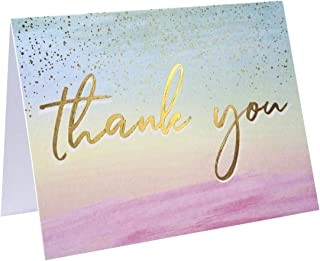 60 Pack Thank You Cards -Watercolor Thank You Cards -Gold Foil Thank You Cards- Elegant Thank You Cards With ''Thank you'' Embossed In Gold Foil -Best Thank You Cards- Include 60 Envelope-3.75'' x 5''