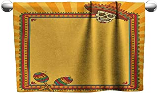 xixiBO Bath Towels for Sale W14 x L14 Fiesta,Frame Pattern with Skull Sombrero and Maracas Mexican Elements Geometric, Marigold Red Green Ladies Towel