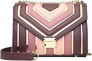 Fashion Women's Bags Polyester/PU(Polyurethane) Crossbody Bag Buttons/Chain Striped Black/Blushing Pink/Wine (Color : Pink)