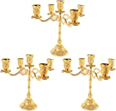 Fenteer 3pcs 5 Arms Candle Holder Dining Table Candlestick for Wedding Romantic Decor