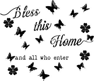 Mirror Bless This Home and All Who Enter Quotes Religious Sayings with 12 Pieces 3D Butterfly Stickers for Wall Decal Entr...