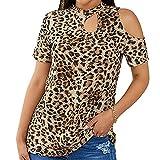 cxzas852 T-Shirt Femmes Imprimé LéOpard DéContracté Famille T-Shirt Col en V éPaule Froide Hauts Mince à Manches Courtes Hauts pour Le DéColleté des Femmes