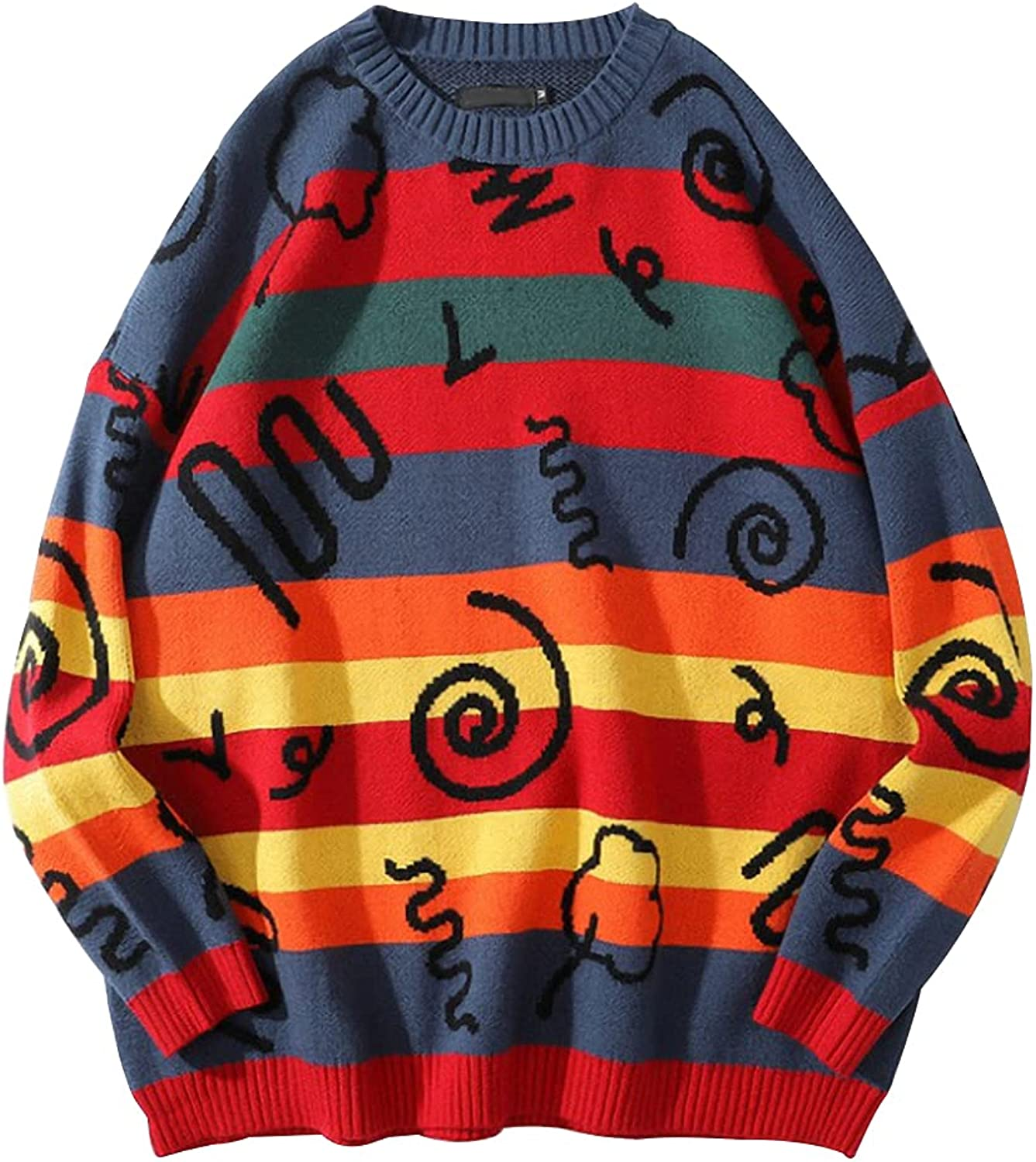Gihuo Men's Casual Loose Color Block Long Sleeve Multi Patterns Knit Pullover Tops
