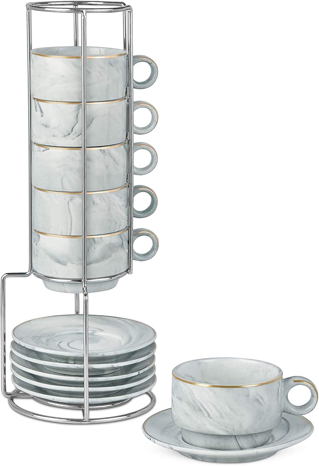 Espresso Mugs Set of 6 with Rack Marble Stackable Espresso Cups with Saucers and Metal Stand Demitasse Cups Designed for Espresso, Latte, Cafe, Mocha 3OZ Gray