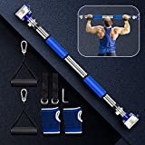 Pull Up Bar for Doorway, No Screw Required Iron Gym Pullup Bar with Adjustable Width, Upper Body Workout Chin Up Bar Doorway for Home Gym Exercise Fitness & 440 LBS (Gloves and String Included)