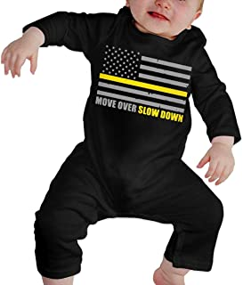 Move Over Slow Down Tow Truck Driver Flag Baby Girl Long Sleeve Romper Jumpsuit Bodysuits