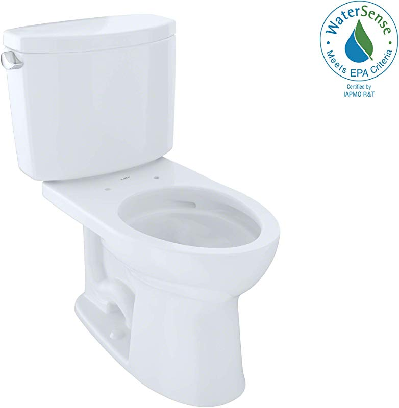 TOTO CST454CEFG 01 Drake II Two Piece Elongated 1 28 GPF Universal Height Toilet With CEFIONTECT Cotton White