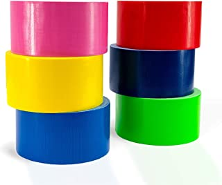 Kontactic Assorted Duct Tape Set of 6 Rolls 10 Yards X 2 Inches - Green Navy Yellow Pink Red Blue Colored Variety Tape Multi Pack Colorful Decorative Color Moving Labels Packing Fluorescent Duct Tape