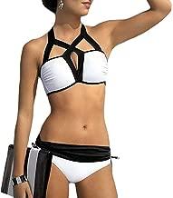 Bikini Fashionable Sexy Bikini Black-White Swimsuit Cut-Out Bathing Suit Women Top Bottom Sets