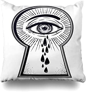 Ahawoso Throw Pillow Cover Peeking Black Crying Teary Mystic Eye Peeping Through Mystery Alchemy Blackwork Coloring Comics Home Decor Pillow Case Square Size 16 x 16 Inches Zippered Pillowcase