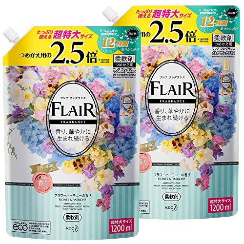 【Amazon.co.jp 限定】【まとめ買い】フレアフレグランス 柔軟剤 フラワー&ハーモニーの香り 詰め替え 大容量 1200ml×2個