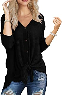 SAMPEEL Womens Waffle Knit Tunic Blouse Tie Knot Henley Tops Loose Fitting Bat Wing Plain Shirts