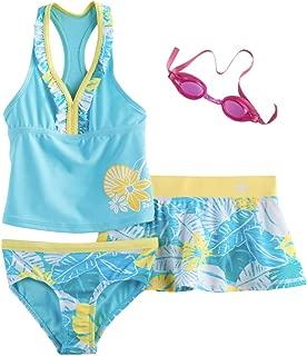 Girls Tankini Top, Bottoms & Skirt Swimsuit Set
