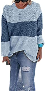 Macondoo Womens T-Shirt Oversize Long-Sleeve Color Block Knitted Pullover Sweater