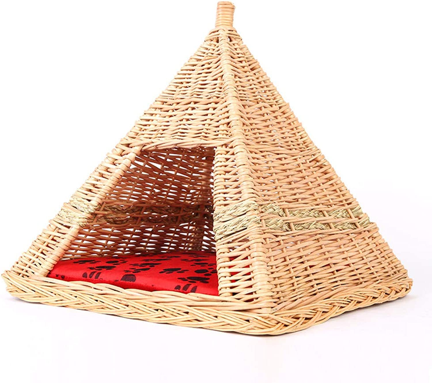 Rattan Wicker Summer House Small Dog Cat Litter Kennel Pet Nest Supplies Detachable Washable Four Seasons Universal Dog Cat Litter
