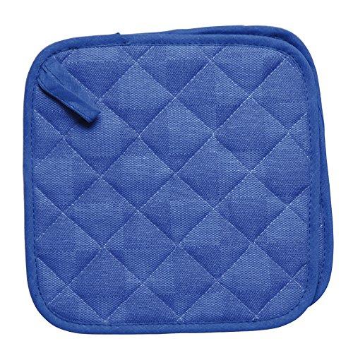 Excelsa Passione Colore Set 2 Presine Quadrate Trapuntate, Blu, Dimensioni: cm. 20x20