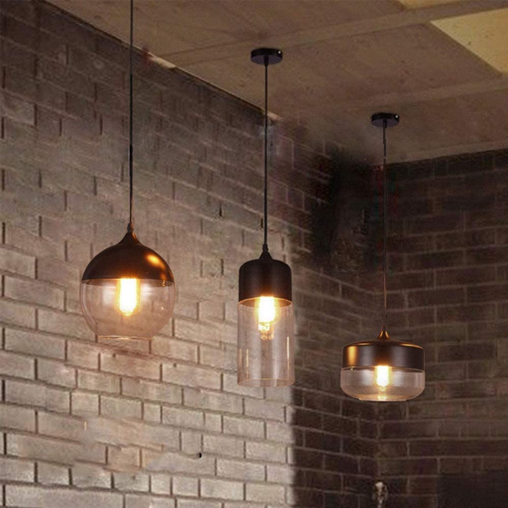 Mengjay Lampada a Sospensione Stile Edison Vintage Industriale Lampadario da Soffitto Paralume in Vetro Attaco E27 lampadina non inclusa