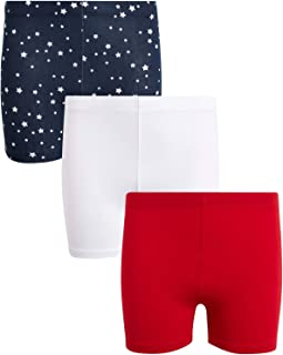 French Toast Girls Kick Playground Active Dance Shorts - 3 Pack (Navy/Red/White, Small (6/7))'