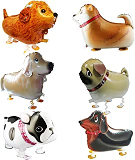 GenMo Walking Balloons Dog Animals Walking Balloon Set Kids Pet Dogs Birthday Party Supplies Animal Theme Balloons Toys Baby Puppy Air Walkers Gift Party Decorations 6 Pack