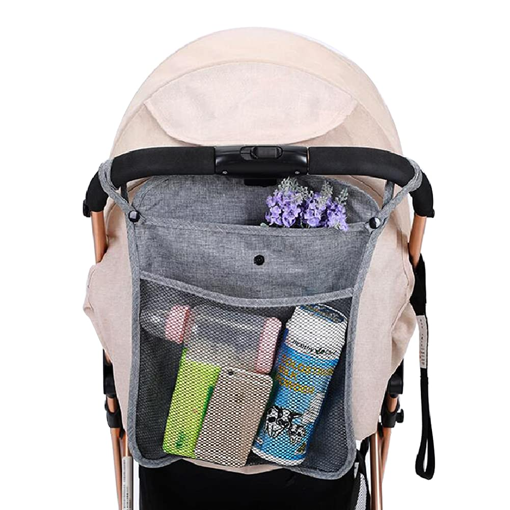 Lightweight Baby Stroller Organizer Mesh Bag, 2 Layer Organizer Pocket with Lid, Durable Hanging Organizer Bag for All Pram (GREY)