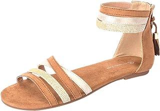 Yolanda Zula Women's Ankle Strap Sandals Summer Flat Zipper