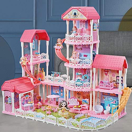 LIYANG Puppenhausspielzeug Haus Modell Puppen Haus 3D Puzzle für Kinder Kinder Geburtstagsgeschenke (Farbe : Pink, Size : Four Floors 1)
