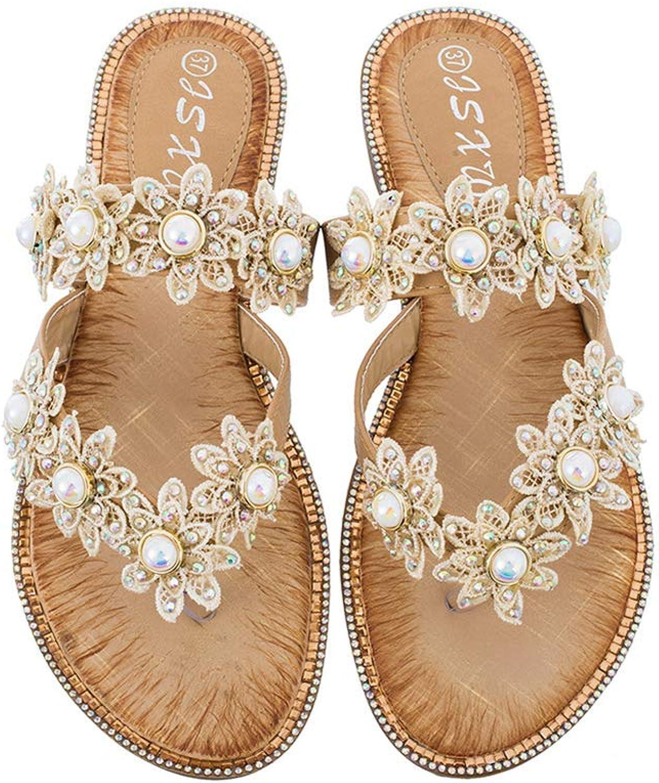 Mobnau Womens Floral Beaded Flip Flops Thong Ladies Sandals