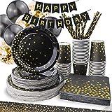 Vajilla desechable (24 personas) para fiestas de cartón reciclable. Vasos, platos, servilletas, globos y pajitas desechables para fiestas de cumpleaños, navidad y eventos. Vajilla de cartón oro negro