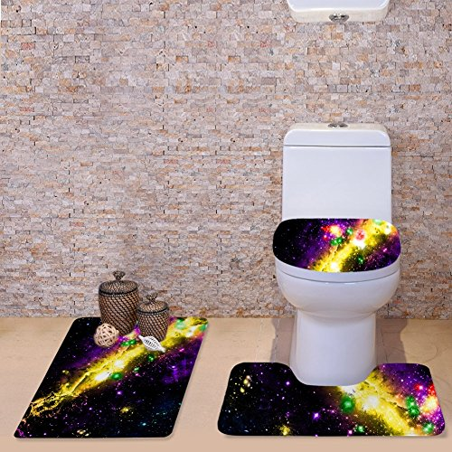& Badkamer tapijt set Star World 3 Print Bad Set Flanel Anti-slip Deksel Badmat, Contour & Seat Cover Absorbens Badkamer Mat Set Met Backing driedelige toiletbril