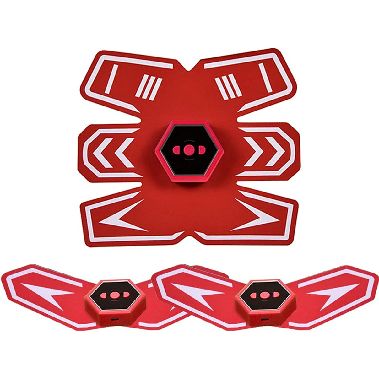 北極圏勝つ撃退するスマートベルト腹部楽器筋肉ペースト男性と女性の筋肉腹部怠惰な腹部筋肉フィットネス機器とインテリジェント音声放送&USB充電 (Color : Red)