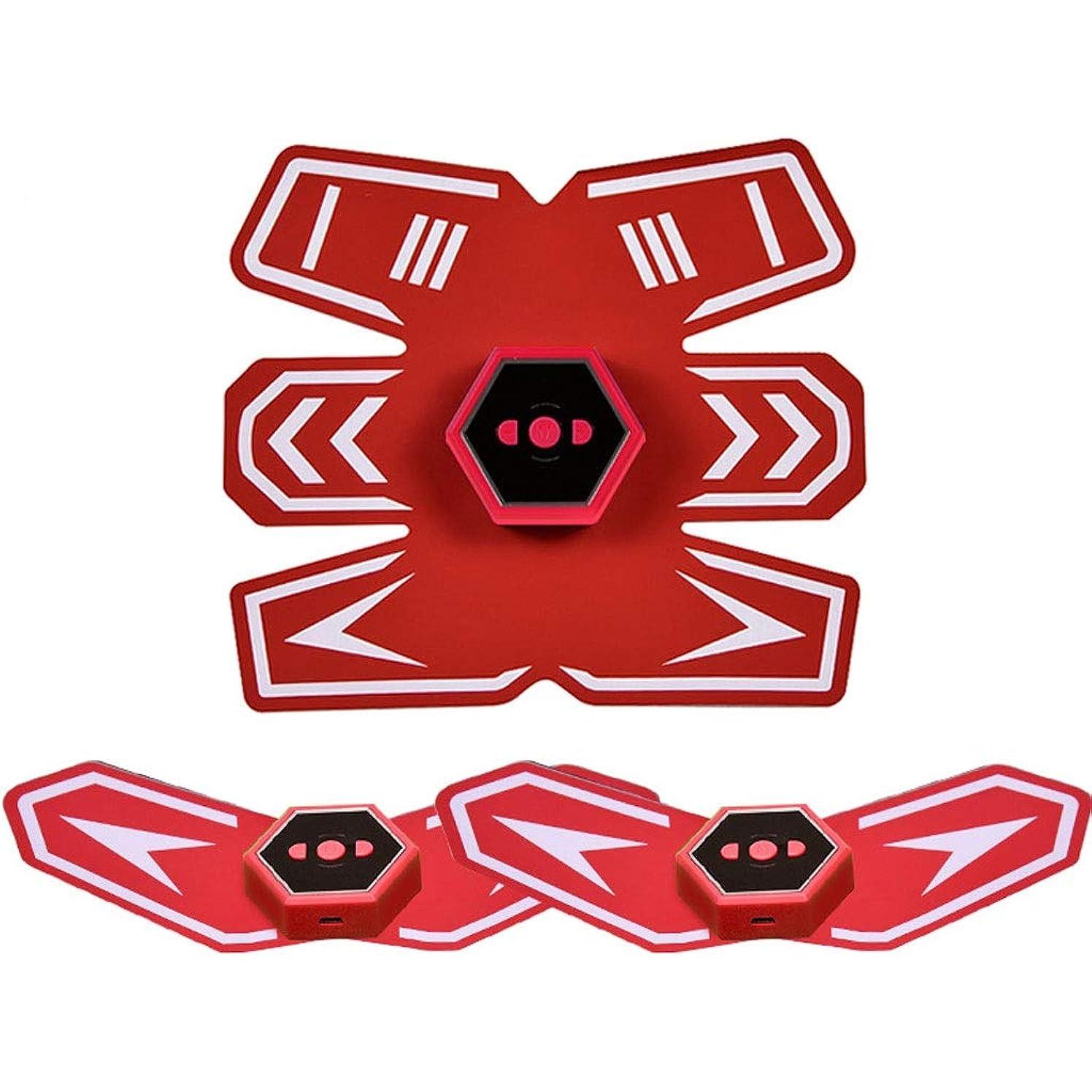 巻き戻す副詞スマートベルト腹部楽器筋肉ペースト男性と女性の筋肉腹部怠惰な腹部筋肉フィットネス機器とインテリジェント音声放送&USB充電 (Color : Red)