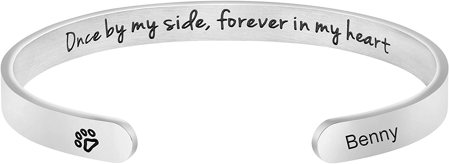 Dog Memorial Cuff Bracelet Remembrance Loss of Pet Jewelry Sympathy Gift Engraved Pets Name