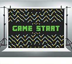 Game Start Boy Gamer Party Backdrop for Photography, 9x6FT, Black Big Decor Background, Photo Booth Studio Props LHLU475